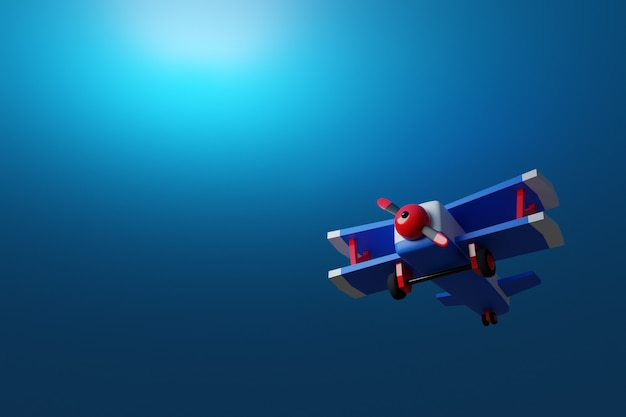 3d-afbeelding van een blauw-rood vliegtuig in cartoon-stijl