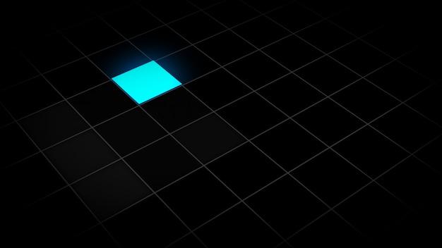 3d-afbeelding van een gloeiend vierkant in een raster