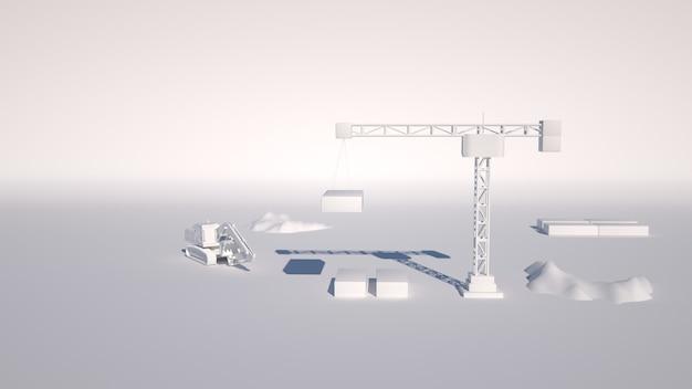 3d-afbeelding van een lay-out van een bouwplaats, een bouwkraan en een graafmachine op een bouwplaats.