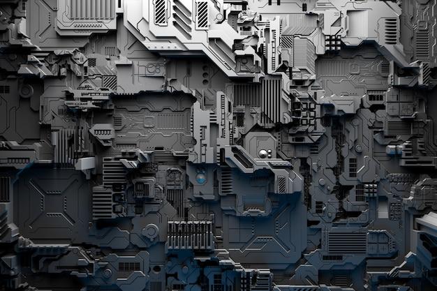 3d-afbeelding van een patroon in de vorm van een metalen, technologische beplating van een ruimteschip of een robot. abstracte afbeeldingen in de stijl van computerspellen. sluit omhoog van het zwarte cyberpantser op neonlichten