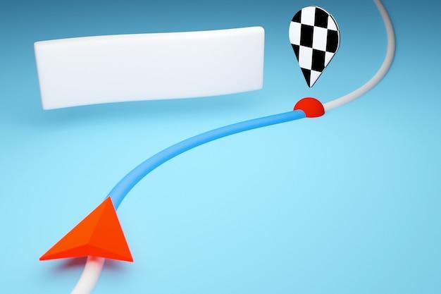 3d-afbeelding van een pictogram met de bewegingsrichting langs het traject met navigatiemarkeringen, bestemming en berichten in de vorm van een wolk op een blauwe achtergrond