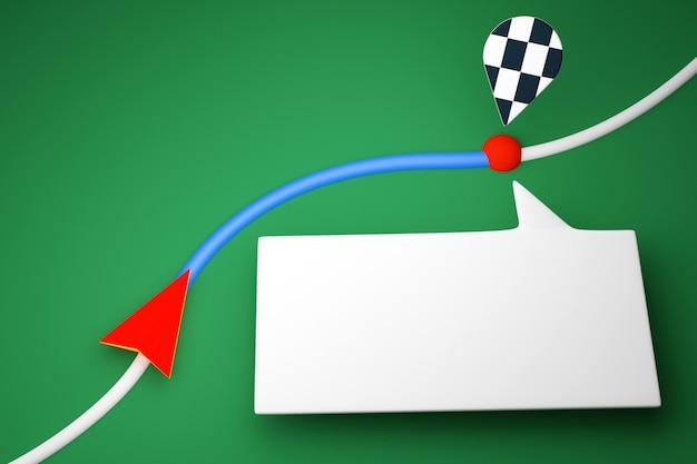 3d-afbeelding van een pictogram met de bewegingsrichting langs het traject met navigatiemarkeringen, bestemming en berichten in de vorm van een wolk op een rode achtergrond