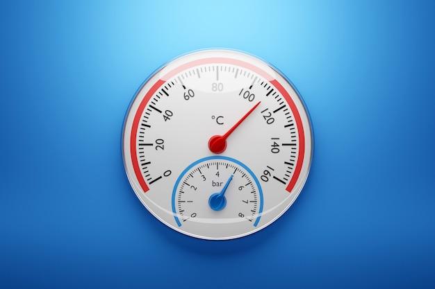 3d-afbeelding van een ronde barometer met markeringen tot 160 op een geïsoleerde blauwe achtergrond