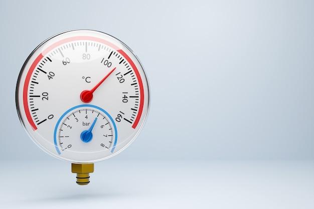 3d-afbeelding van een ronde barometer met markeringen tot 160 op een witte geïsoleerde achtergrond
