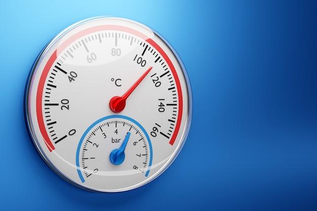 3d-afbeelding van een ronde barometer op een geïsoleerde blauwe achtergrond