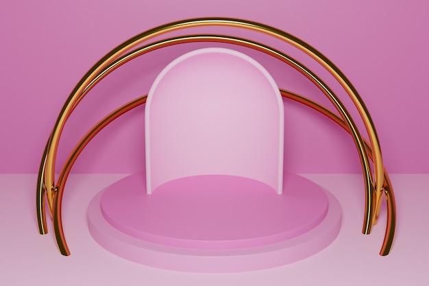 3d-afbeelding van een scène uit een cirkel met ronde boog aan de achterkant op een roze achtergrond