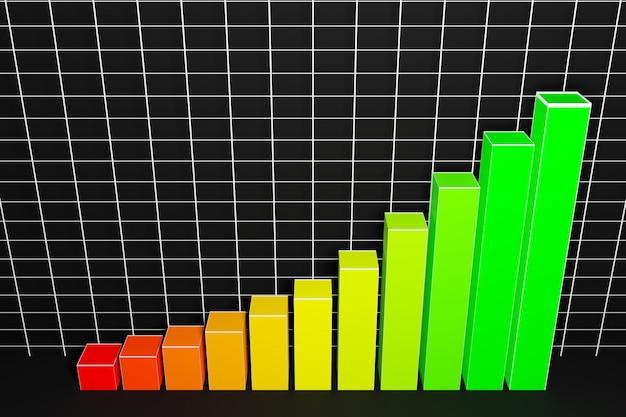 3d-afbeelding van een staafdiagram met toenemende kolommen van klein naar groot