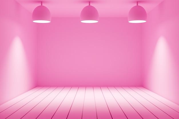 3d-afbeelding van een zwart-wit roze kamer