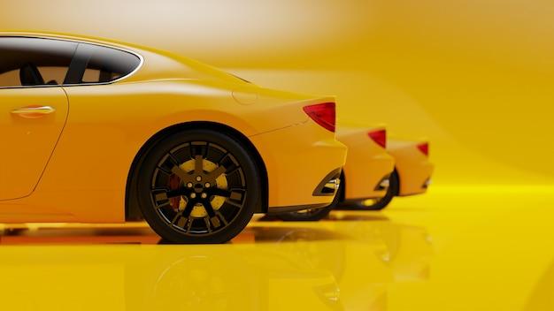 3d-afbeelding van gele auto's op een gele ondergrond