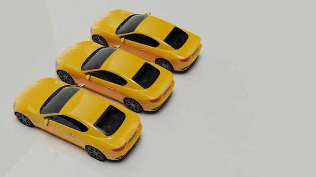 3d-afbeelding van gele auto's op een wit oppervlak