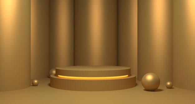 3d-afbeelding van gouden showcase.