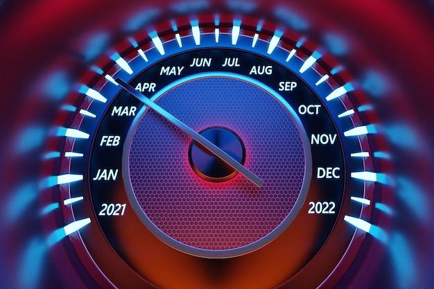3d-afbeelding van het dashboard van de auto wordt verlicht door heldere verlichting