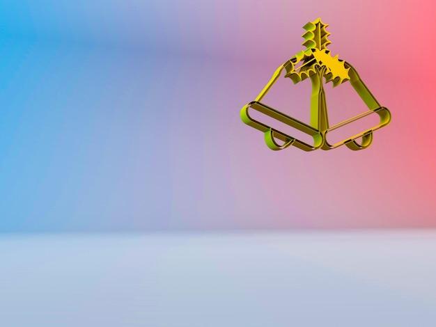 3d-afbeelding van kerstklokken op een achtergrond met kleurovergang