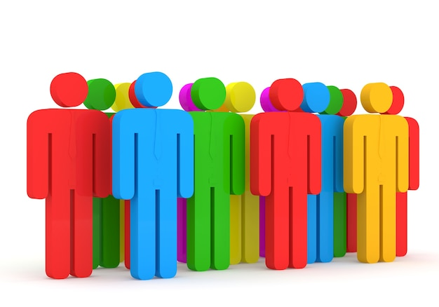 3d-afbeelding van kleurrijke mensen