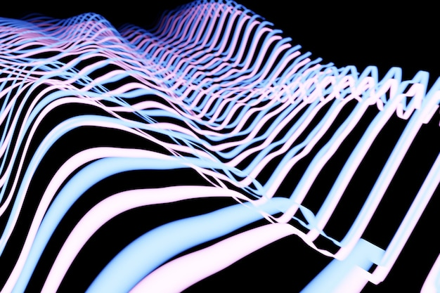 3d-afbeelding van ontwerp kleurrijke abstracte digitale geluidsgolf op een zwarte achtergrond stemherkenning equalizer audio-recorder