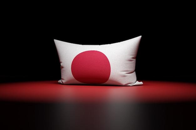 3d-afbeelding van rechthoekig kussen met de nationale vlag van japan