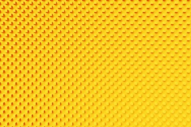 3d-afbeelding van rijen van gele vierkanten. set kubussen op monocrome achtergrond, patroon. geometrie achtergrond