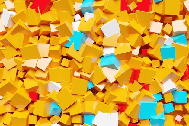 3d-afbeelding van rijen van oranje, blauwe en rode vierkantjes. set kubussen op monocrome achtergrond, patroon. geometrie achtergrond
