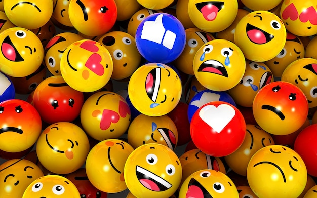 3d-afbeelding van vele bolvorm ballen met verschillende emotionele gezichten. emotionele gezichten. liefde, blij, verdrietig, huilgevoel.