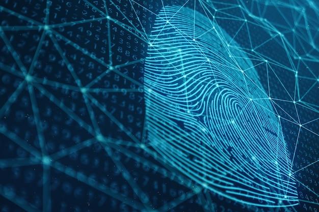 3d-afbeelding vingerafdrukscan biedt beveiligingstoegang met biometrische identificatie. concept vingerafdrukbescherming. vingerafdruk met binaire code. concept van digitale beveiliging