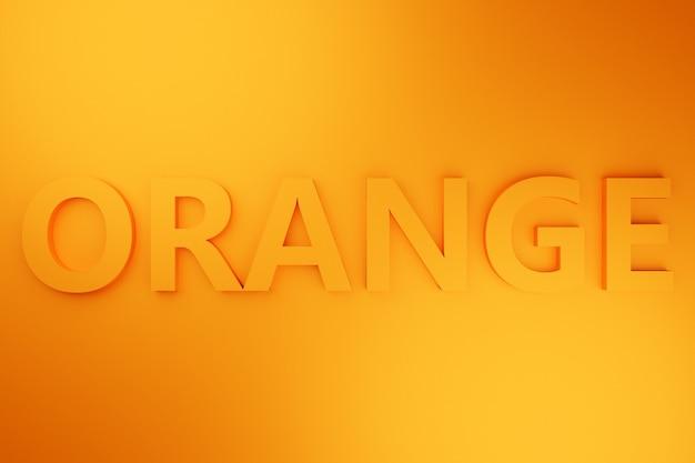 3d-afbeelding volumetrische inscriptie in oranje letters op een fel oranje geïsoleerde achtergrond. kleur symbool
