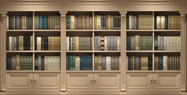 3d-afbeelding. wand houten klassieke bibliotheekboeken of bibliotheek studeer of woonkamer, onderwijs