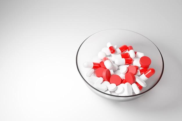 3d-afbeelding witte rode capsules pils met medicijnen in een grote glazen beker op een witte achtergrond