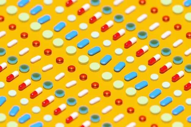 3d-afbeelding witte rode capsules pils met medicijnen zijn verspreid