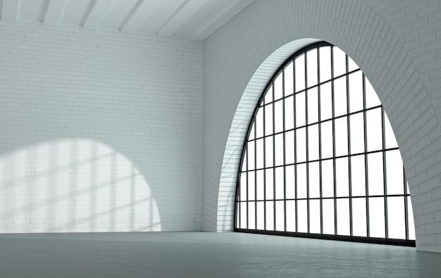 3d-afbeelding. zolderkamer of studio met grote zwarte boogramen. modern interieur.