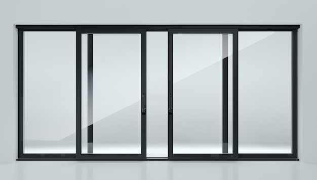 3d-afbeelding. zwarte schuifdeur in de winkel of ramen. achtergrond voor banner. adverteren. moderne bouwtechnologieën