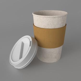 3d afhaalmaaltijden koffiekopje