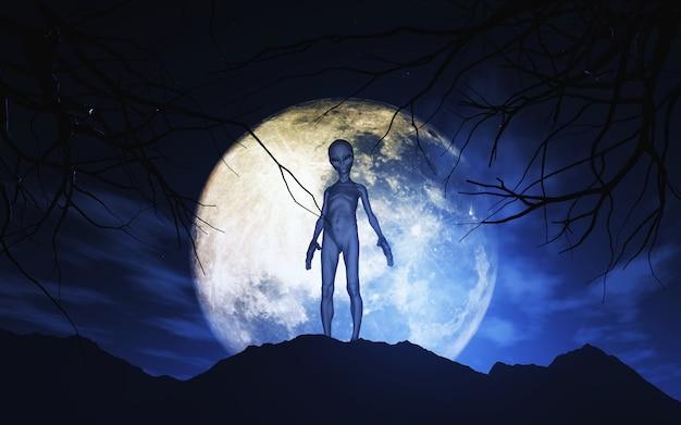 3d alien tegen maanbeschenen hemel