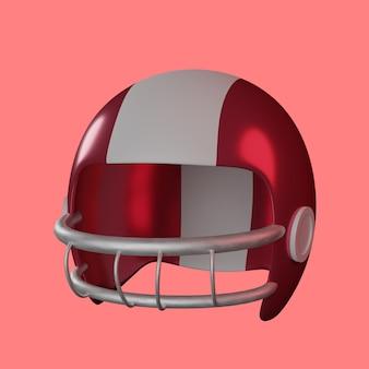 3d american football-helm op rode achtergrond