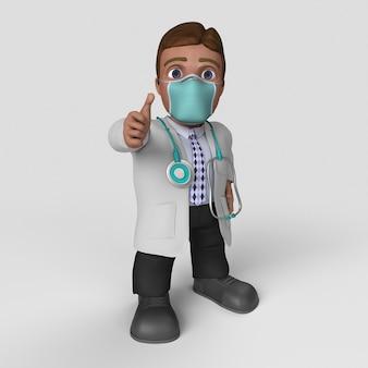3d arts stripfiguur in gezichtsmasker