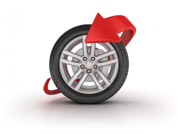 3d auto wiel met pijl