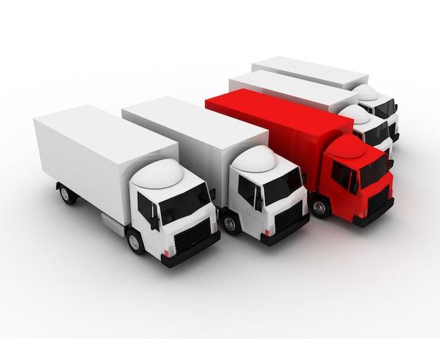 3d autovrachtwagenleider van leveringsconcept. 3d-gerenderde afbeelding