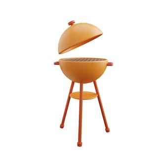 3d barbecue grill illustratie. 3d bbq-grillillustratie die op wit wordt geïsoleerd