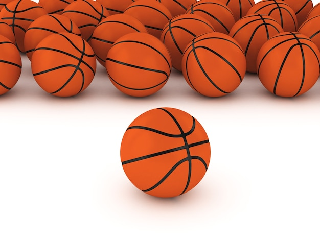 3d basketballen op witte grond