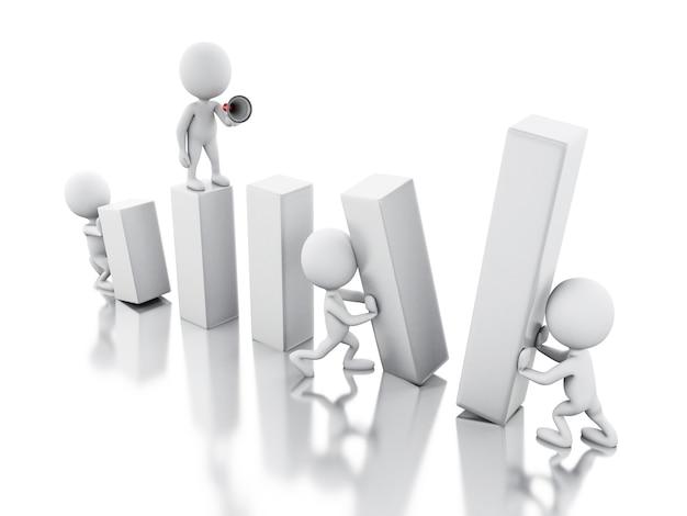 3d bedrijfsmensen die samenwerken