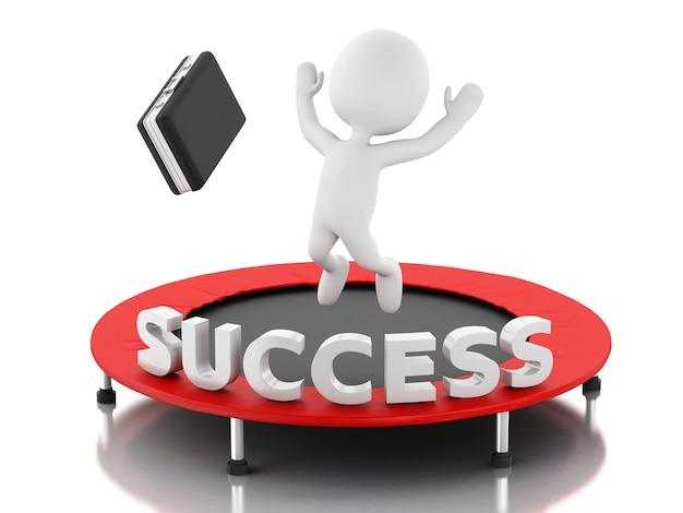 3d bedrijfsmensen, gelukkig springend voor het succes in trampoline.
