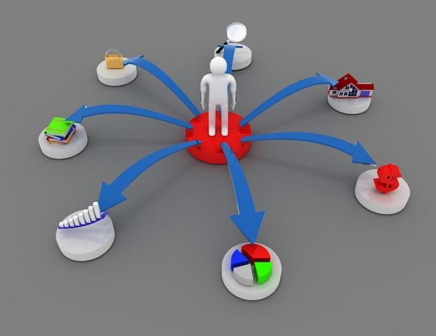 3d bedrijfspersoon met bedrijfspictogrammen. 3d-gerenderde afbeelding