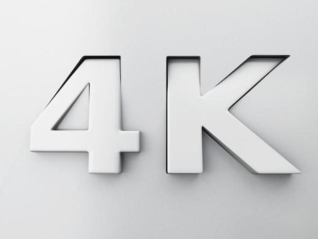 3d beeld. 4k-tekst gegraveerd en geëxtrudeerd vanaf het oppervlak.