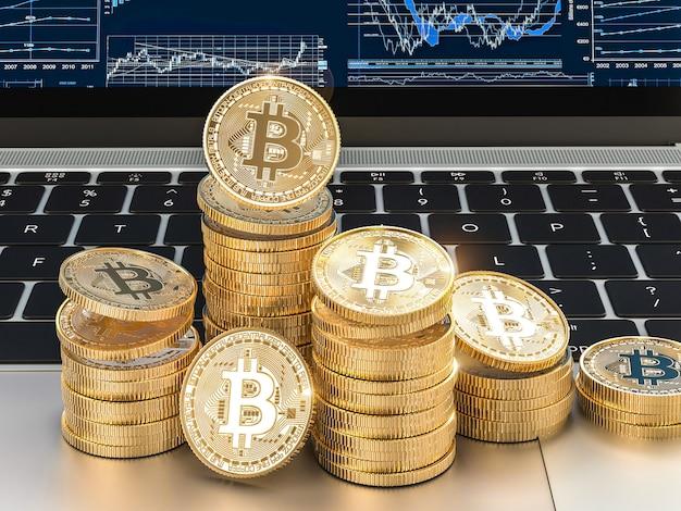 3d beeld geeft van gouden bitcoinmuntstukken terug op moderne laptop.
