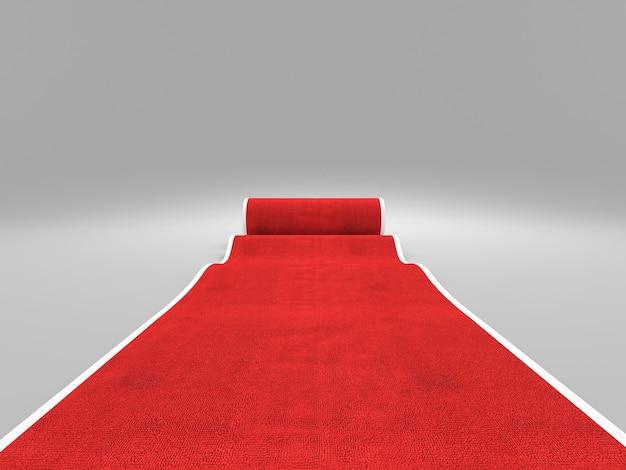 3d beeld van klassieke rode loper
