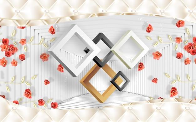 3d behang woondecoratie 3d driehoeken en rode bloemen in witte en gouden achtergrond klassieke muurschildering