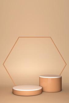 3d beige abstract geometrisch voetstuk. pastel podium minimaal ontwerp. stijlvolle trendy abstracte geometrische scène.