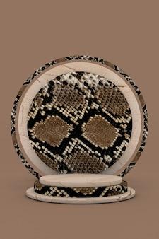 3d beige rond podium met slangenleer of reptielenpatroon bruine cosmetische schoonheidsproductpromotie