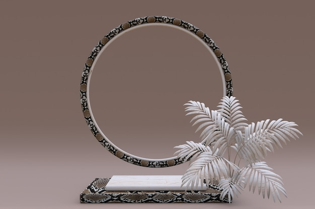 3d beige vierkant podium met slangenleer of reptielenpatroon en cirkelframe voetstuk met palm