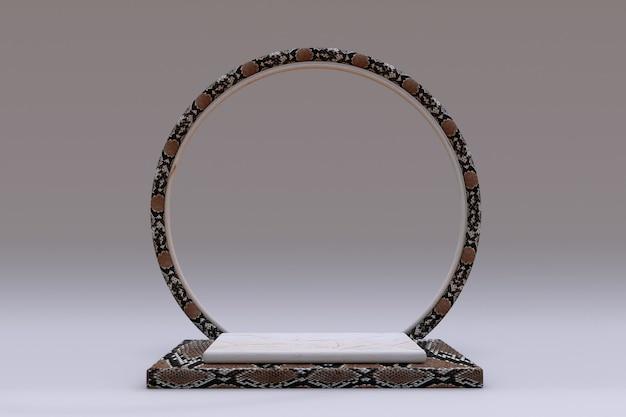 3d beige vierkant podium met slangenleer of reptielenpatroon en cirkelframe