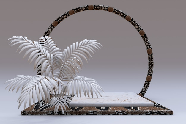 3d beige vierkant podium met slangenleer reptielenpatroon en cirkelframe voetstuk met abstracte palm